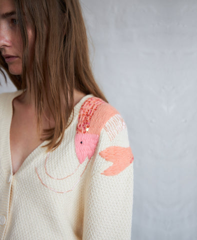Stella Nova Esma Embroidered Shrimp Cardigan
