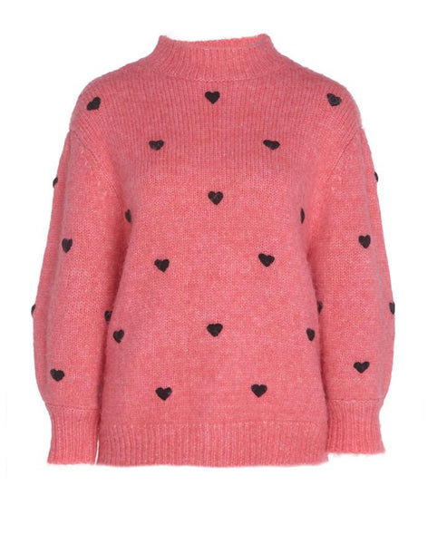 Rixo - Ariana Pink Black Heart Embroidery Knit - Studio B Fashion