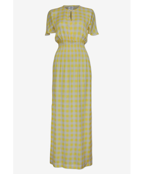 Baum und Pferdgarten-Aberdeen Lemon Check Maxi Dress-Studio B Fashion