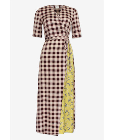 Abygail Creamy Red Check Silk Wrap Dress