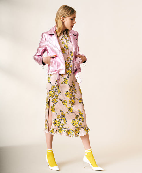 Aksinja Pink and Yellow Floral Silk Dress