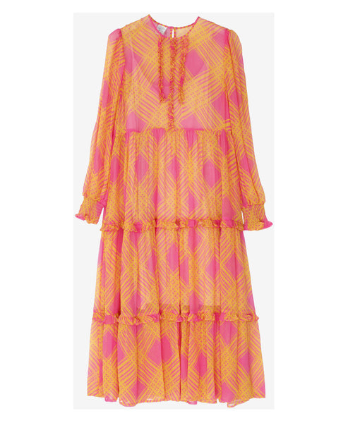 Baum und Pferdgarten - Alexandrina Pink and Orange Print Check Dress - Studio B Fashion - SS19 Pre Collection Orange and Pink Alexandrina Dress
