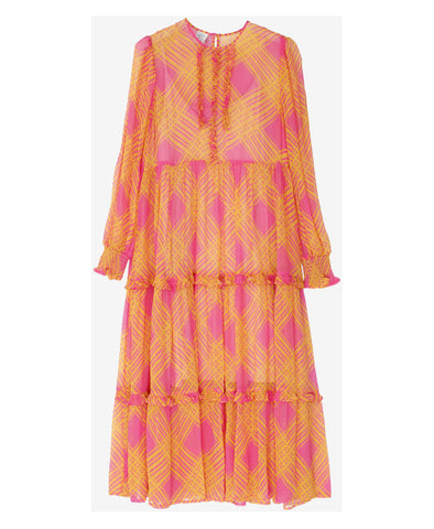 Alexandrina Orange and Pink Check Dress