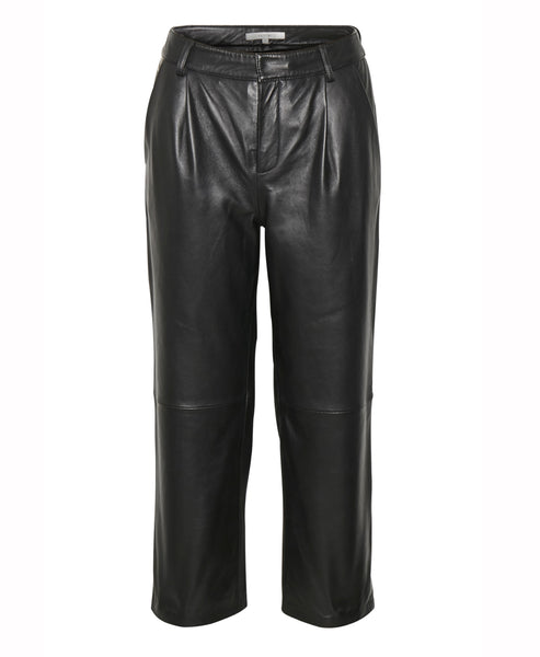 Gestuz Aliah Black Leather Ankle Crop Trousers