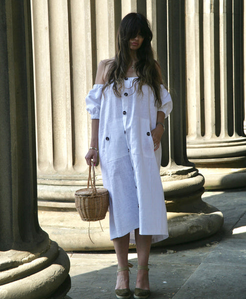 Johanna Sands x Studio B Fashion Exclusive Linen Summer Dress Limited Capsule Collection - Amalfi White Off the Shoulder Linen Dress