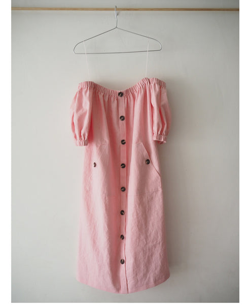 Studio B Fashion x Johanna Sands -Exclusive Linen Summer Dress Capsule - Amalfi Pink Linen Off the Shoulder Dress