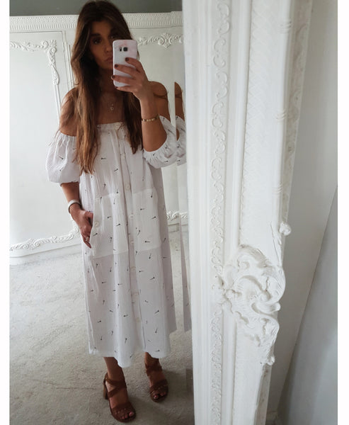 Amalfi Dragonfly Off the Shoulder Cotton Gauze Dress Studio B Fashion x Johanna Sands - Exclusive Linen Dress Capsule