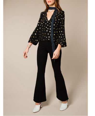 Angie Gold Star Polka Dot Necktie Blouse