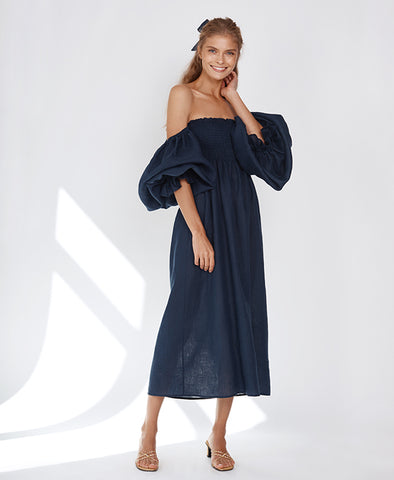 Sleeper Atlanta Linen Dress in Navy