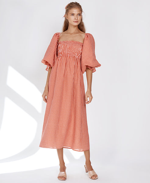 Sleeper Atlanta Linen Dress in Red Gingham