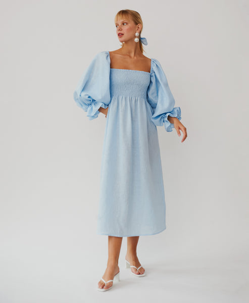 Sleeper. Atlanta Linen Dress in Azure Blue. Studio B Fashion