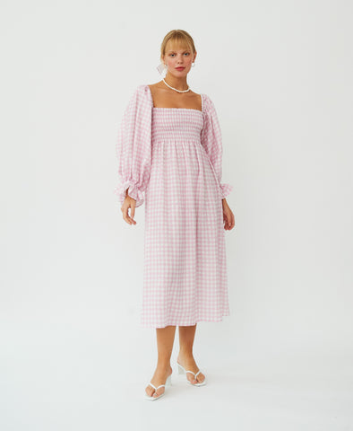 Sleeper Atlanta Linen Dress in Pink Gingham