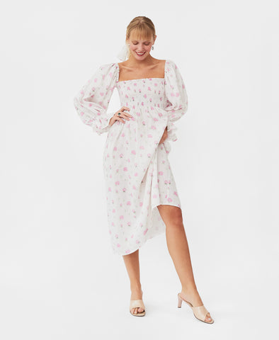Sleeper Atlanta Linen Dress in Roses
