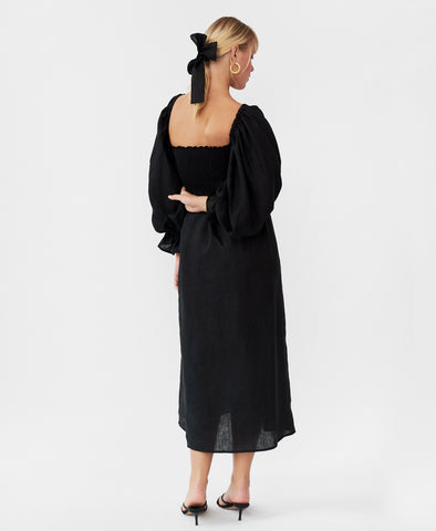 Sleeper Atlanta Linen Dress in Black
