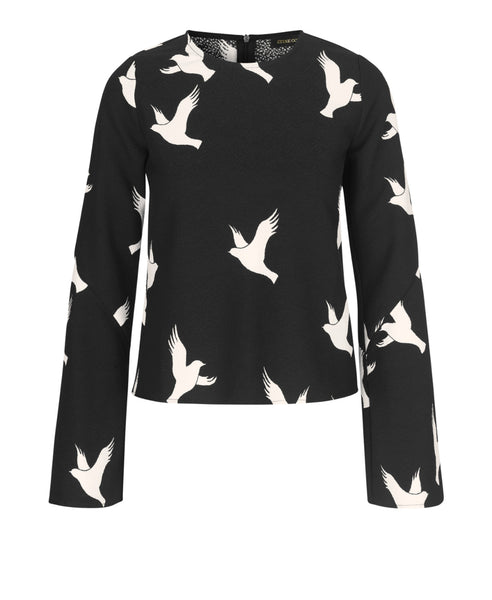 Stine Goya - Blair Top Doves Black - Studio B Fashion - Stine Goya SS19 Pre Collection Nothingness Blair Flair Long Sleeve Black Top with White Doves Print