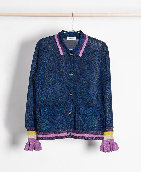 Contemporary Danish brand Baum und Pferdgarten is a statement style favourite.SS18 season offers this purple lurex knit button up cardigan with frill cuffs.