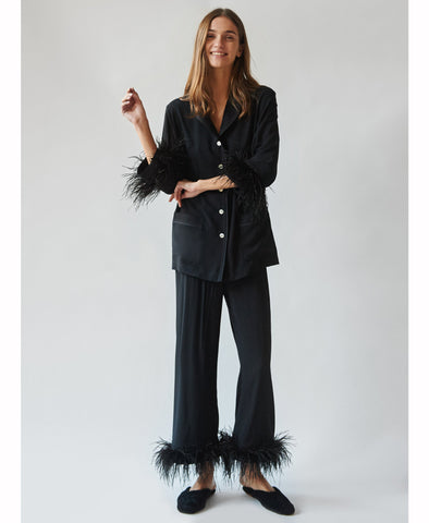 Party Pajama Set with Feathers in Black