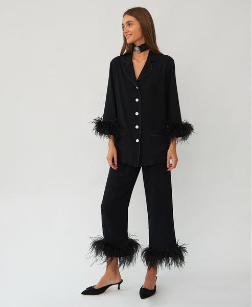 Sleeper - Party Pyjama Set with Feathers in Black - Studio B Fashion
