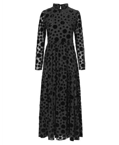 Stine Goya -Judy Velvet Devore Maxi Dress Dots Black- Studio B Fashion