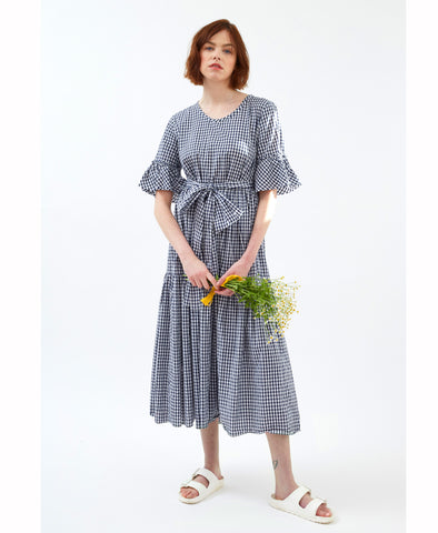 Navy Cotton Gingham Primrose Hill Dress