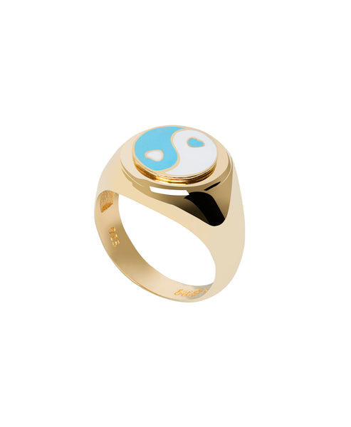 Wilhelmina Garcia. Gold YinYang Blue Ring. Studio B Fashion