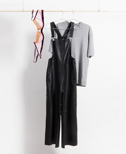 Angelina Leather Dungaree Jumpsuit