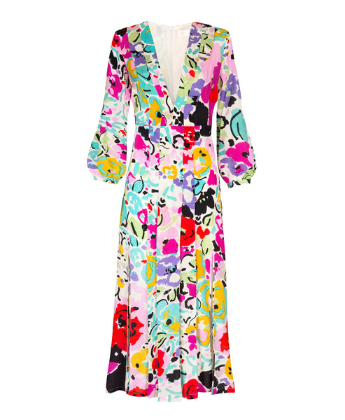 Camellia Bright Brush Stroke Midi Dress
