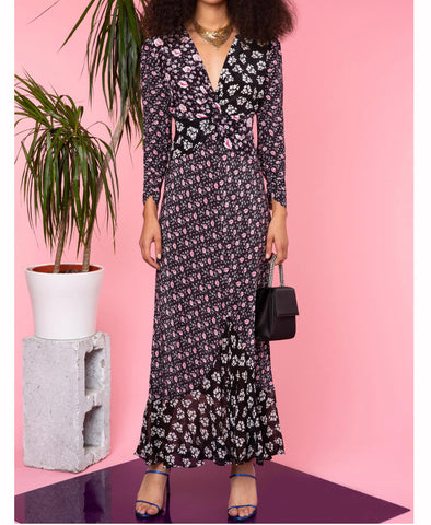 Rixo Chelsea Black Micro Bunch Floral Midi Dress