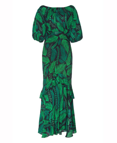 Rixo Cheryl Teal Cuba Palm Frill Maxi Dress