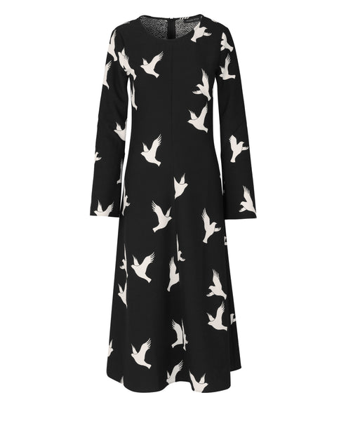 Stine Goya - Clara Midi Dress Doves Black - Studio B Fashion - Stine Goya SS19 Pre Collection Nothingness - Dove Print Midi Dress