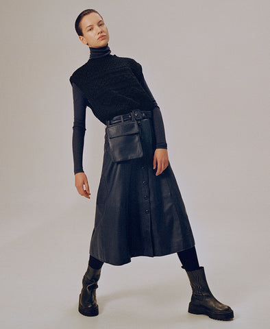 Gestuz Navy FallynGZ Leather Skirt