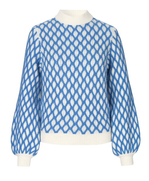 Stine Goya - Carlo Contrast Cable Knit Blue - Studio B Fashion