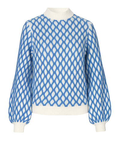 Stine Goya Carlo Contrast Cable Knit Blue