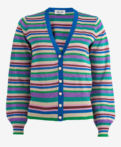 Cathee Lurex Metallic Stripe Cardigan