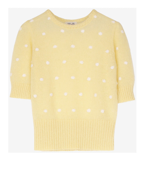 Baum und Pferdgarten-Chance Knitted Pom Pom Dotty Top-Studio B Fashion - Chance Lemon Mix Knitted Top with short sleeves and  pom pom dots