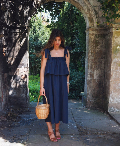 Concetta Navy Linen Dress Studio B Fashion x Johanna Sands - Exclusive Linen Dress Capsule