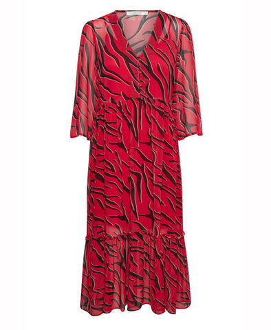 Gestuz Red Tiger Print Midi Dress