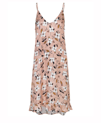 Dessert Midi Slip Dress Nude Floral