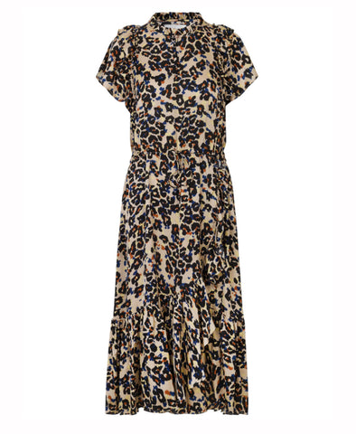 Duff Dress Indigo Leopard Print