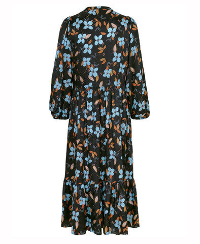 Dull Dress Black Blue Floral Daisy