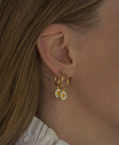 Wilhelmina Garcia Gold Daisy Hoop Earrings
