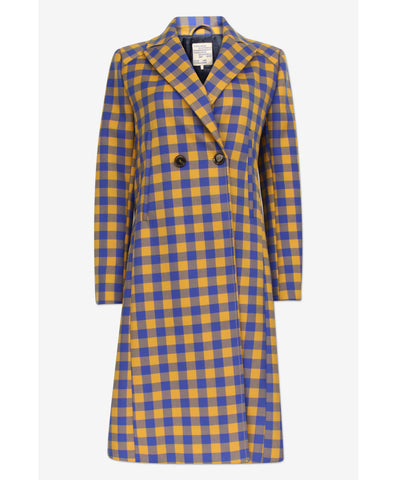Darcie Golden Blue Check Coat