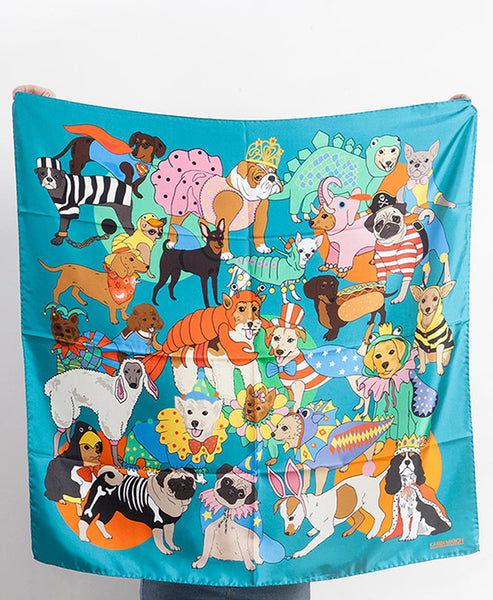 Karen Mabon - Dog Fancy Dress Silk Scarf - Studio B Fashion