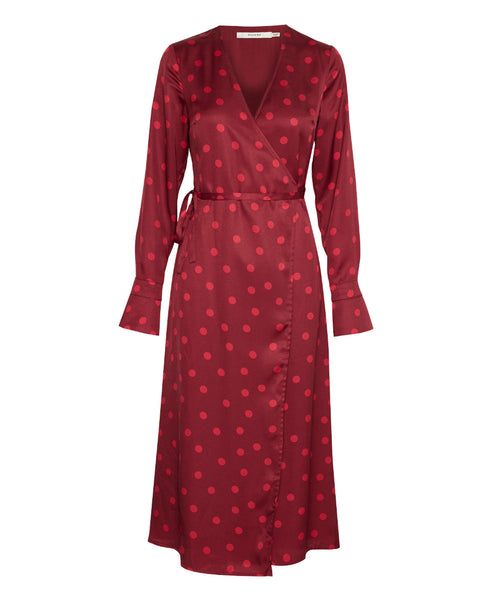 Gestuz - Elsie Polka Spot Wrap Dress Red Burgundy - Studio B Fashion