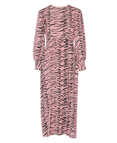 Emma Pink Black Tiger Midi Dress with Slits