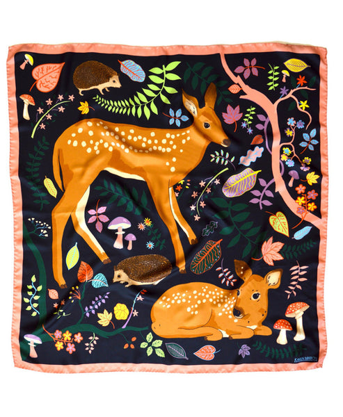 Flora and Fawns Silk Scarf