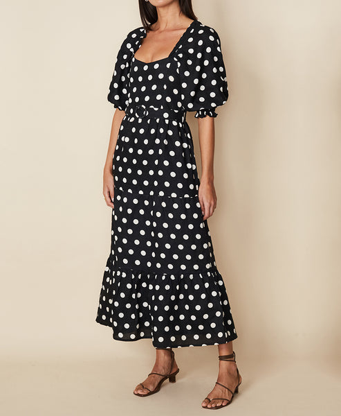 Faithfull The Brand. Rumi Midi Dress Emelda Dot Print Black. Studio B Fashion