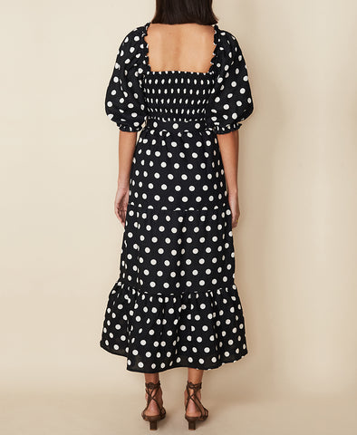 Faithfull Rumi Midi Dress Dot Print Black