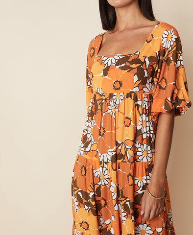 Faithfull Kiona Midi Dress Isola Floral Print Orange
