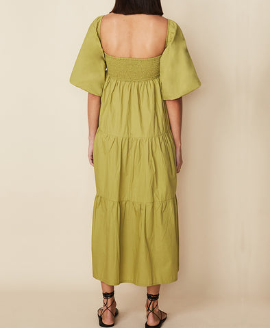 Faithfull Kiona Midi Dress Plain Olive